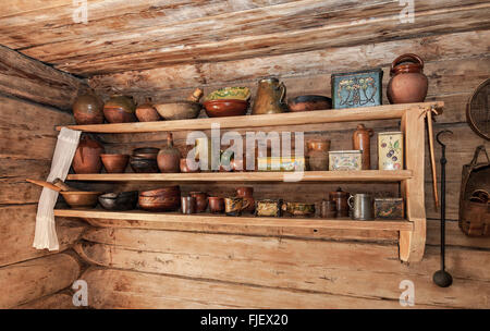 Interior of old rural wooden house in the museum of wooden architecture Vitoslavlitsy - Stock Photo