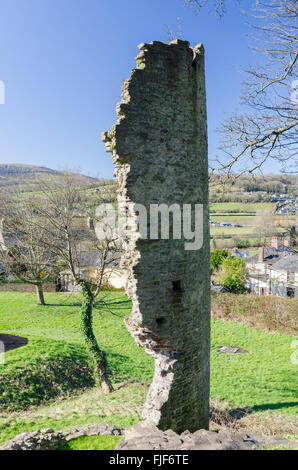 Remains of Crickhowell Castle, also known as Alisby's Castle in Crickhowell, Powys - Stock Photo