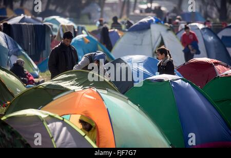 Idomeni, Greece. 02nd Mar, 2016. Refugee have pitched their tents in a camp at the Greek-Macedonian border in Idomeni, - Stock Photo
