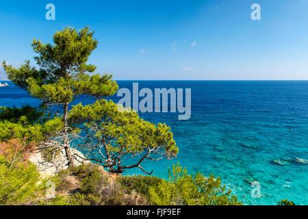 Beautiful scenic coastline on Karpathos island, Greece - Stock Photo