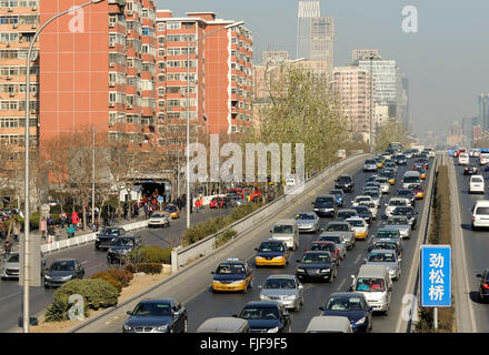 Traffic jam at a highway in Beijing, China - Stock Photo