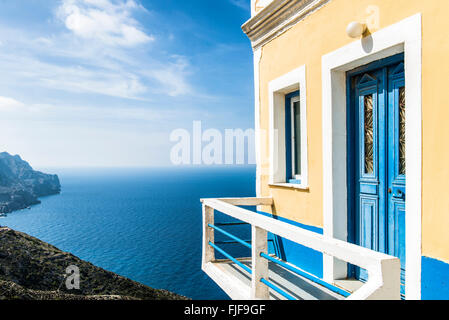 Beautiful House on the cliff in Olympos, Karpathos island, Greece - Stock Photo