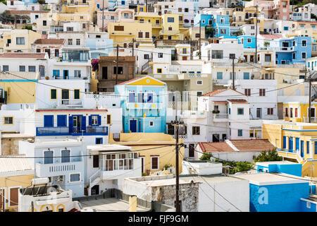 The village 'Menetes' on Karpathos island, Greece - Stock Photo