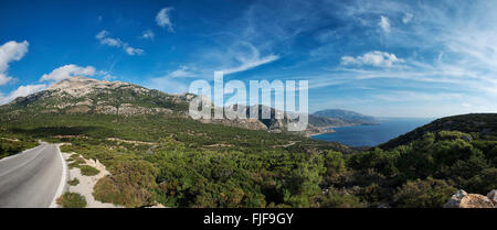 XXL-Panorama of beautiful scenic coastline on Karpathos island, Greece - Stock Photo