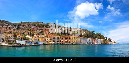 Porto Santo Stefano seafront promenade panorama, italian travel destination. Argentario, Tuscany, Italy. - Stock Photo