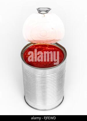 canned tomato paste on white - Stock Photo