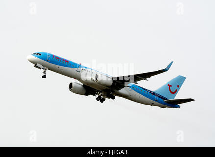 Thomson Boeing 757 taking off at Birmingham Airport, UK (G-OOBB) - Stock Photo