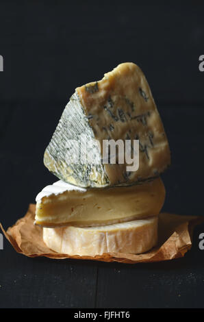 Different kinds of cheeses: camembert, brie,  blue cheese - Stock Photo