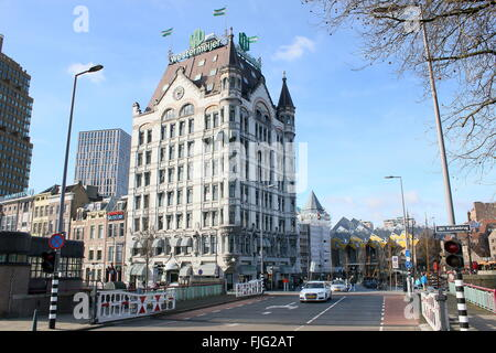 Het Witte Huis (White House) built in 1898 in Art Nouveau style at Wijnhaven, Rotterdam, Netherlands. National heritage - Stock Photo