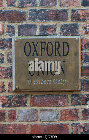 Oxford Union debating club members only sign. Oxford, England - Stock Photo