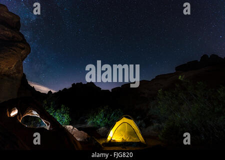 Tent on a campsite with starry sky above, night scene, Wildrose Campground, Death Valley National Park, California, USA