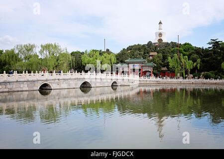 A view of Jade Flower Island and the White Pagoda in Beihai Park in Beijing - Stock Photo