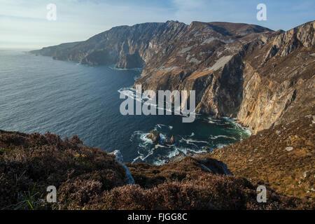 Sliabh Liag mountain sea cliffs in Donegal, Ireland. A highlight on the Wild Atlantic Way roadtrip. - Stock Photo