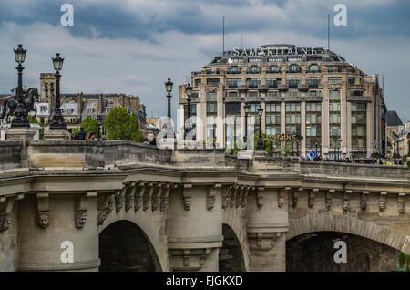 Paris France 2014 April 22,  Historic building architecture along the banks of the Seine River - Stock Photo