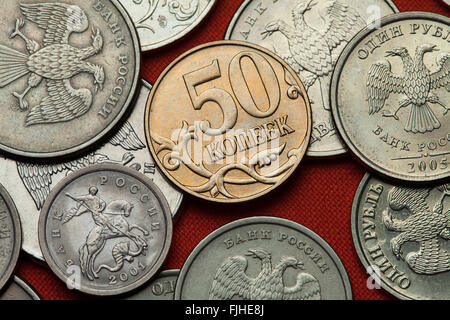 Coins of Russia. Russian 50 kopek coin. - Stock Photo