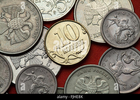 Coins of Russia. Russian 10 kopek coin. - Stock Photo