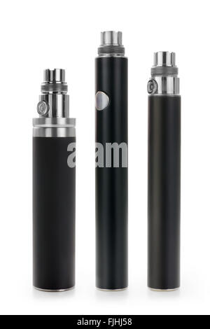 Group of three electronic cigarette li-ion batteries isolated on white with clipping path - Stock Photo