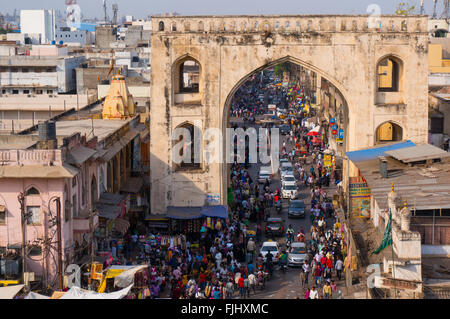 Hyderabad, Telangana, India, 28th Feb 2016: Famous Laad market surrounding the Charminar in the old city area of - Stock Photo