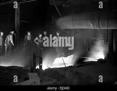 Blast Furnace iron steel workers England Britain 1950s - Stock Photo