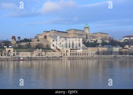 View on Castle Hill and Danube river from Pest in winter. Budapest, Hungary. - Stock Photo