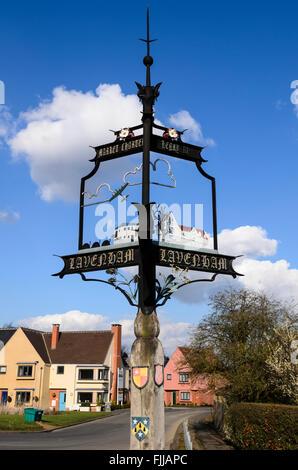 The village sign of Lavenham, Suffolk, England, UK. - Stock Photo