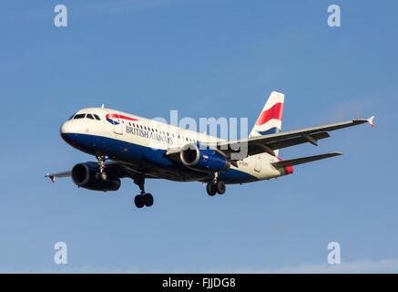 Airbus A319 British Airways Airlines Landing at LHR London Heathrow Airport - Stock Photo
