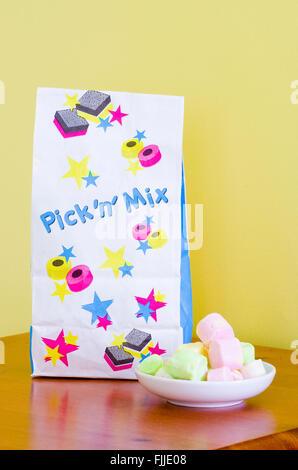 Edinburgh Rock Sweets & Pick and Mix Bag - Stock Photo