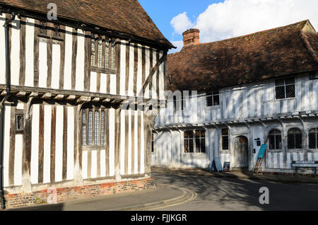 Traditional half-timbered medieval builidings in Lavenham, Suffolk, England, UK. - Stock Photo