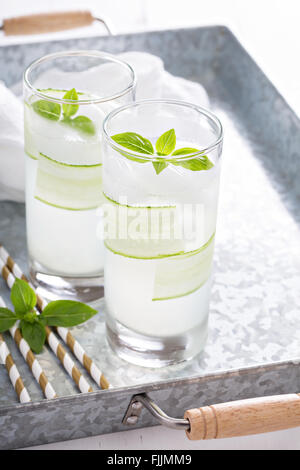 Basil cucumber sparkling drink in tall glasses - Stock Photo