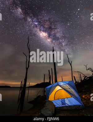 Camping  under the clear milky way - Stock Photo