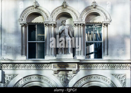 Statue of Sir Thomas Gresham on building at Holborn Viaduct, London. - Stock Photo