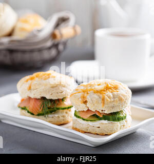 Homemade biscuits with cream cheese and lox - Stock Photo