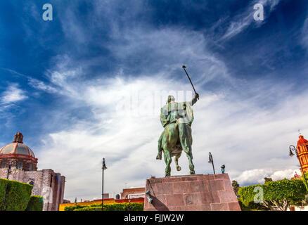General Ignacio Allende Statue Plaza Civica San Miguel de Allende Mexico. Iglesia De Nuestra Senora De La Salud - Stock Photo