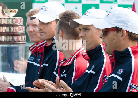Melbourne, Australia. 3rd Mar, 2016. The USA team at the official draw of the BNP Paribas Davis Cup World Group - Stock Photo