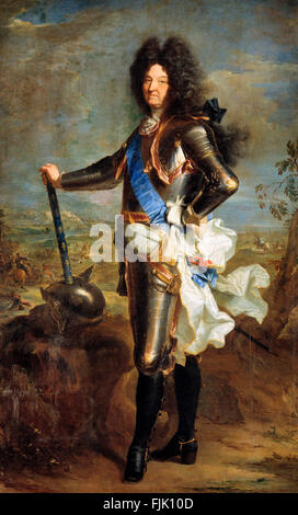 Portrait of French King Louis XIV in 1701 - Hyacinthe Rigaud - Stock Photo