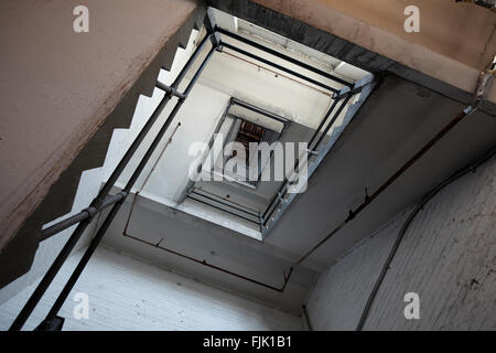 stairwell in industrial building - Stock Photo