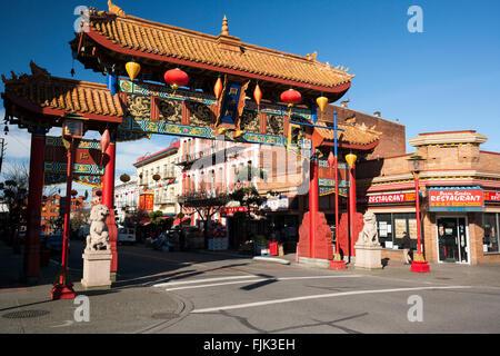Chinatown Gate - Victoria, Vancouver Island, British Columbia, Canada - Stock Photo