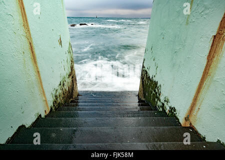 Stairs leading to water - Dallas Beach - Victoria, Vancouver Island, British Columbia, Canada - Stock Photo