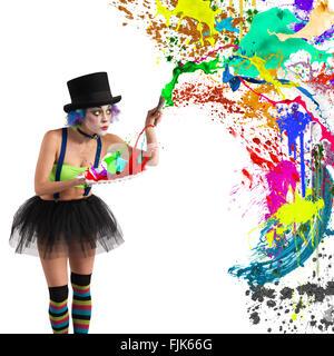 Painter clown - Stock Photo