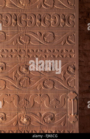 Detail of a finely carved wooden door at Tumacacori National Historical Park, Arizona. Historic Spanish colonial missions in the American Southwest.