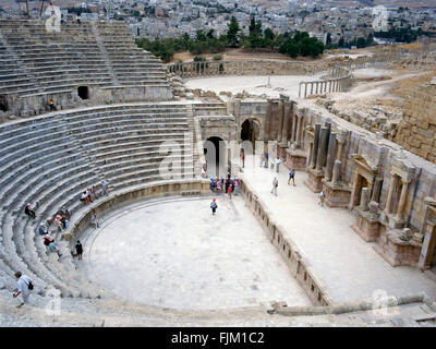 Ruins of Jerash, Roman city near Amman in Jordan - Stock Photo