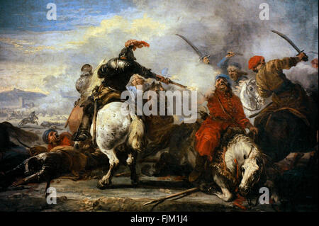 Jacques Courtois called Il Borgognone (1621-1675). French painter. Cavalry Encounter, second half of the 17th century. - Stock Photo
