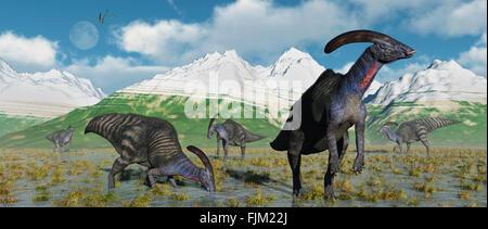 A Herd Of Parasaurolophus Duckbill Dinosaurs. - Stock Photo