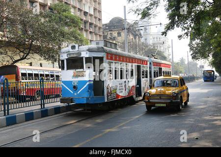 India, 19 February 2016.  tram  on road ; Calcutta now Kolkata ; West Bengal ; India . Photo by Palash Khan - Stock Photo