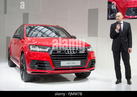 Ingolstadt, Germany. 03rd Mar, 2016. Head of development at Audi AG, Stefan Knirsch, stands next to the new Audi - Stock Photo