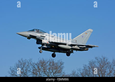 RAF Coningsby, UK. 03rd March 2016. German Air Force, Luftwaffe, Eurofighter Typhoons arrive at RAF Coningsby for - Stock Photo