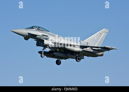 RAF Coningsby, UK. 03rd March 2016. The first German Air Force, Luftwaffe, Eurofighter Typhoon arrive at RAF Coningsby - Stock Photo