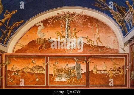 geography / travel, Lithuania, Vilnius, mural painting in the Aisten hall of the philologic faculty, university, - Stock Photo