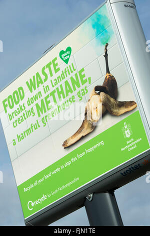 Council Food Waste sign in Brackley, Northamptonshire, England - Stock Photo