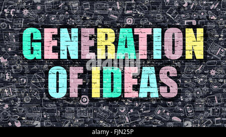 Generation of Ideas Concept. Multicolor on Dark Brickwall. - Stock Photo